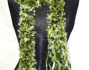 Green Boa, Green Scarf,Back to school, Narrow scarf, Colorful Boa, Crochet Green Boa, Mans/Womans Boa Fluffy Extra Long Scarf 104 inches