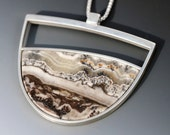 Sterling Silver and Silver Lace Agate Pendant