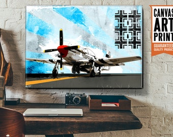 WWII, Airplane Decor, Canvas Art Print of a P51 Mustang vintage WW2 military fighter plane, world war 2 art available in 18x24 or 24x36.