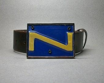 Belt Buckle License Plate Letter Z Blue Gold Cool Hand Made Gift for Men or Women
