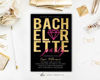 Bachelorette Party Invitation, Bachelorette Party Invite, Black Gold Bachelorette Party Invite, Girls Night Out Invite, Bachelorette Weekend