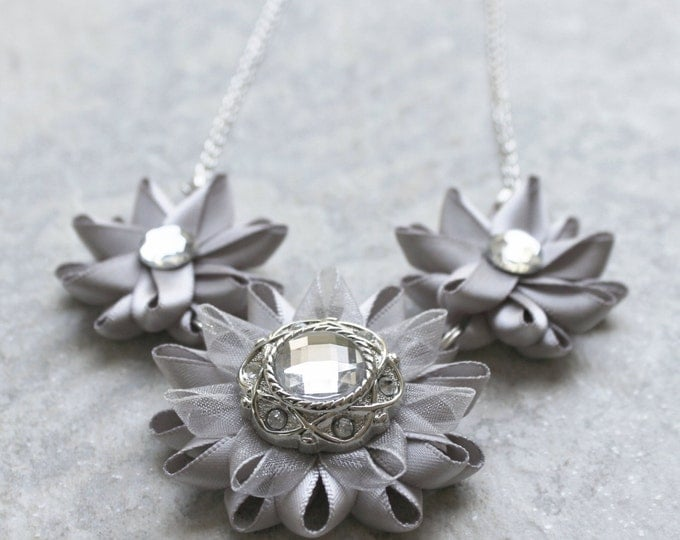 Silver Statement Necklace, Silver Necklaces, Unique Bridesmaid Jewelry, Handmade Wedding Jewelry, Gray Necklaces, Necklace and Earrings Set