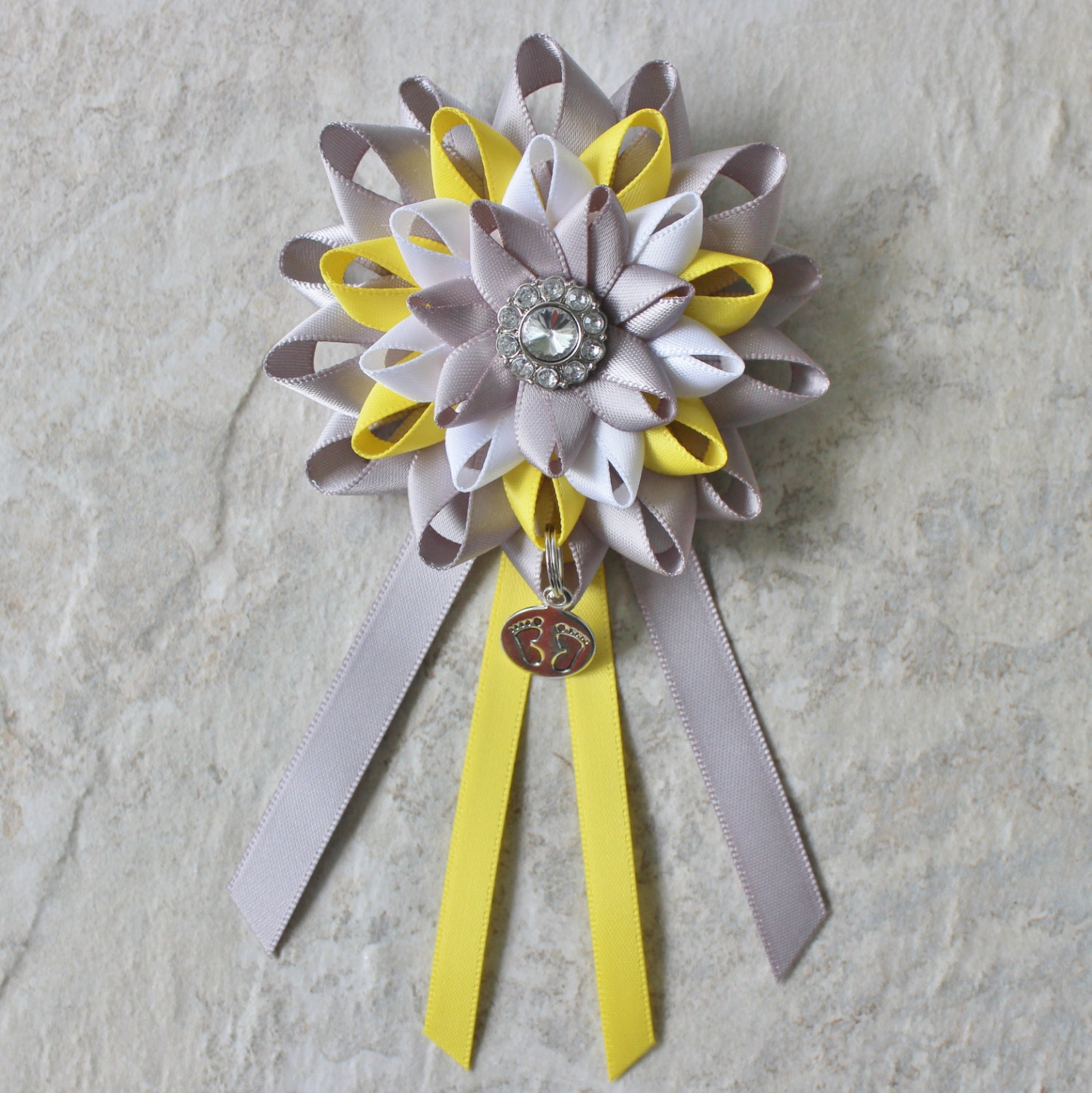Baby Shower Decorations Yellow Gray White Mommy to Be Corsage