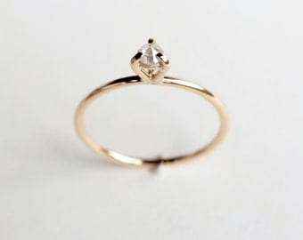 Eye 02 - diamond gold ring - white diamond yellow gold engagement ring - minimalist engagement ring