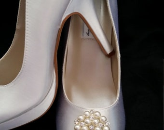 Wedding Shoes Closed Toe Bridal Shoes with Vintage Inspired Pearl and Crystal Cluster Brooch - Dyeable Bridal Shoes - Pick your Color