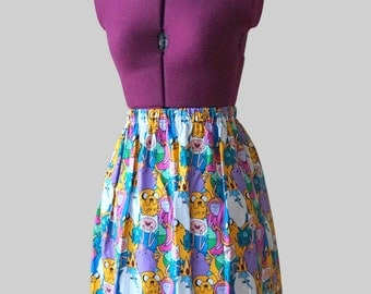 Adventure Time Skirt (xs, s, m, l, xl) ladies high waist mini skirt, tv show, adult cartoon, geeky clothing, finn, jake, princess bubblegum