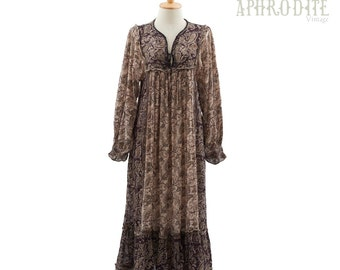 Vintage 70's Indian Sheer Cotton Gauze Paisley Print Puff Sleeves Hippie BOHO Ruffled Trim Festival Tent Midi DRESS