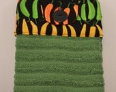 Set of Two Handmade Hanging Kitchen Towels- Chili Peppers- Kitchen Towels- Hanging Towels- Bathroom Towels