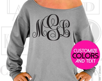 Custom Monogram - Personalized Bride Sweatshirt  -  Customize Monogram Shirt & Ink Color. Slouchy Oversized Sweatshirt.