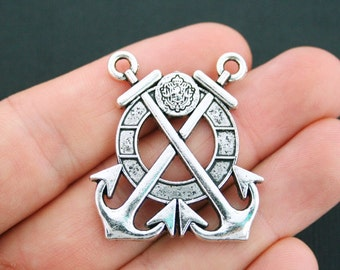 Anchor Connector Charm Antique Silver Tone Large Size - SC4963