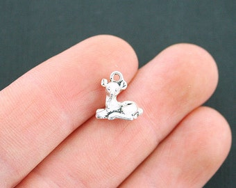 10 Fawn Charms Antique Silver Tone 3D Deer Charm- SC2614