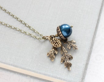 Navy Pearl Acorn Necklace Rustic Nature Charm Pendant Pinecone Branch Leaf Oak Woodland Wedding Autumn Jewelry Bridesmaids Gift Peacock Blue