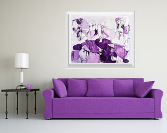 Large Abstract Purple Painting, ORIGINAL Painting, Abstract Art, Acrylic Ink Painting, Purple Drip Painting, Whimsical Art, Line Painting
