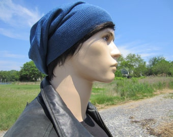 Men's Slouchy Hat Cotton Cashmere Beanie Sea Blue Light Weight Beret Tams Great Basic Hat A49