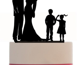 Custom Wedding Cake Topper , Couple Silhouette and any kid silhouette of your choice UP to 3 kids