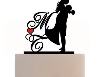 Custom Cake Topper Silhouette Personalized With Initials, Heart For Wedding or Engagement, choice of color