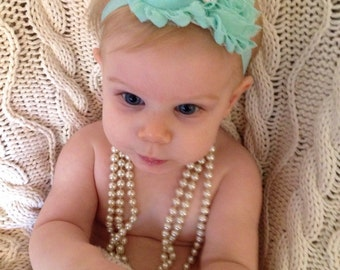 Aqua Shabby Headband or clip for infant baby or toddler rhinestone