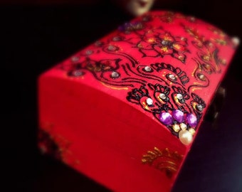 Handpainted and embellished wooden jewellery/gift box