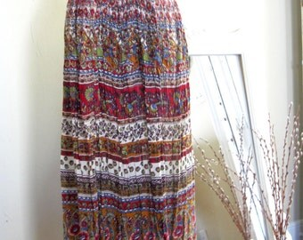 Vintage Indian Cotton Maxi Skirt // Gauzy // Ethnic // Festival // Hippie // Large // XL