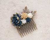 Navy and Gold Wedding Bridal Hair Comb Antique Gold Leaf Branch Flowers Hair Accessory Something blue Wedding Bridesmaid Gift Vintage Style
