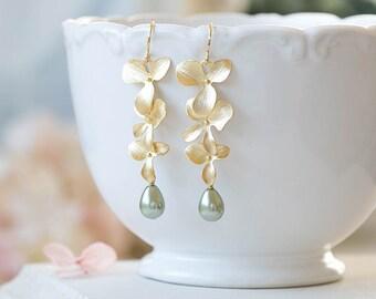 Sage Green Pearl Earrings, Sage Green Wedding Bridal Earrings, Bridesmaid Gift, Teardrop Pearl Gold Orchid Flower Earrings, Gift for Her