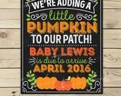 Pumpkin Pregnancy Announcement Chalkboard Printable - Fall Pregnancy Announcement Sign - Pregnancy Reveal - Were Expecting - Photo Props