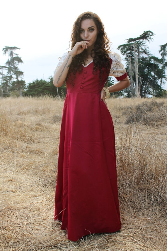 RUBY Vintage 1970's Dress Satin Red Maxi Lace Sleeves Gunne Sax Style Dress Folk Dark Red Holiday