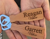 Personalized beer bottle opener wood logo corporate wedding christmas gift stocking stuffer husband dad anniversary military retirement