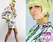 Vintage 60s Botanical Mod NEON Hostess Mini Coat Dress. // Vintage Clothes by TatiTati Style on Etsy