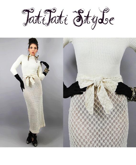CROCHET Dress Vintage 1960s CREAM Rib Sweater Knit Maxi  // Vintage Clothing by TatiTati Style on Etsy