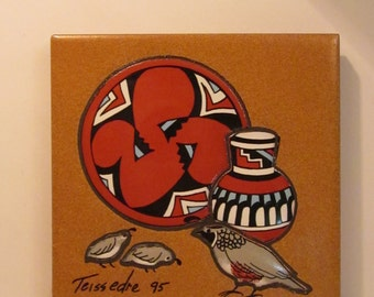 Teissedre Art Tile -  Signed 1995 - Coaster Trivet or Wall Decor - Native American Pottery and Gambel's Quail Family