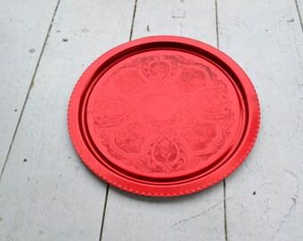 1960s Red Aluminum Tray