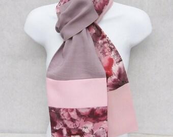 Floral Print Scarf, Patchwork Scarf, One Wrap, Pink Lavender, Casual Scarf, Pieced Scarf, Feminine Scarf, Lavender Scarf, Dressy Scarf, OOAK