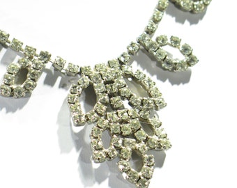 Necklace - Vintage - Antique Style Rhinestone Necklace - Designer Detail - Bridal Style