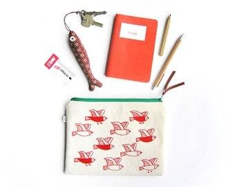 Zipper Bag · Cosmetic Bag · Silkscreen-printed cotton bag · Organic cotton Pencil case · Zipper pouch · Birds print small bag · Bags · Pouch