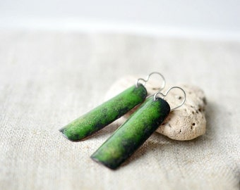 Long enamel earrings - green black earrings - copper sterling silver - oblong earrings - artisan jewelry by Alery