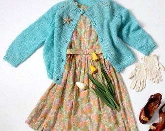 FREE SHIP  1950s mohair cardigan sweater