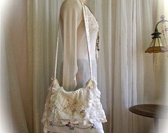Vintage Linen Bag, flap cover, crocheted doilies lace trims beads buttons, handmade shabby chic romantic, vintage layered laces shoulder bag