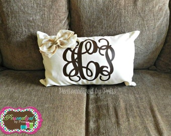 Monogrammed Accent Pillow w/ Burlap Bow