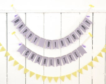 Personalized HAPPY BIRTHDAY - U-PICK Color - Fabric Garland / Bunting / Banner -- Hand Stamped - Eco-friendly