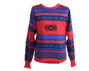 Vintage Meister Ski Sweater Red Blue Size Large / XL