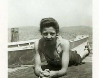 """Vintage Photo """"Sunbathing Momma"""" Snapshot Photo Old Antique Photo Black & White Photograph Found Photo Paper Ephemera Vernacular - 80"""