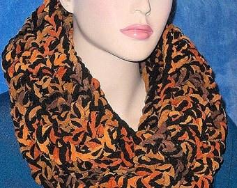 Crochet Infinity Scarf, Black Chunky Infinity Scarf, Orange Crochet Infinity Scarf. Autumn Scarf, Chunky Fall Color Scarf, Plush Scarf, Fall