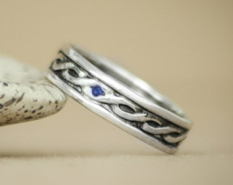 Wide Celtic Knot Pattern Band With Inset Stone In Sterling - Silver Blue Sapphire Men's Engagement Ring - Striking Unisex Wedding Band