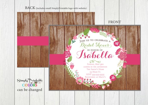 Rustic Floral Bridal Shower Invitation, Pink Wedding Shower,  Printable Shower Invite, Printed Bridal Shower Invite