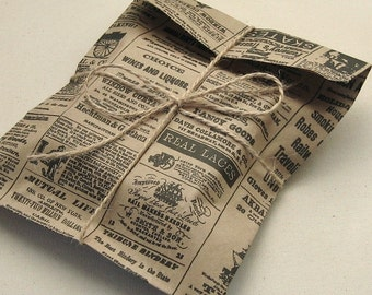 "50 Newspaper Print Kraft Bags 6 x 9"" Newsprint Vintage Style - 6 3/16 x 9 inches"
