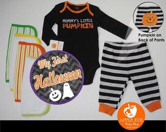Baby Boy Halloween Set (Size 3 Months) Baby Bodysuit Mommys Little Pumpkin and Pants PLUS My 1st Halloween Sticker Holiday Gift Orange Black