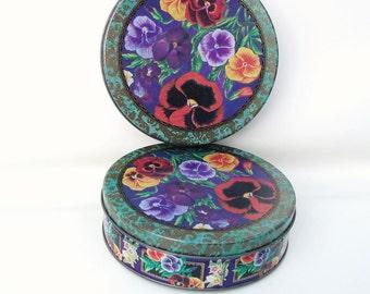 Vintage Tins, Cookie Tins, Floral Canisters, Pansy Flower, Metal Tins, Set of 2 - Metal Boxes