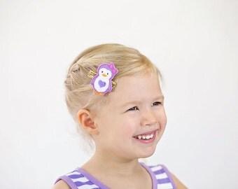 Penguin hair bow - Penguin hair clip - Penguin headband - Toddler penguin bow - Baby penguin bow - Purple penguin bow - Baby girl penguin