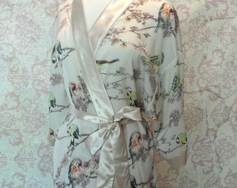 Lingerie Robe in Birds // Champagne Satin, Nature, Floral // Romantic Gift